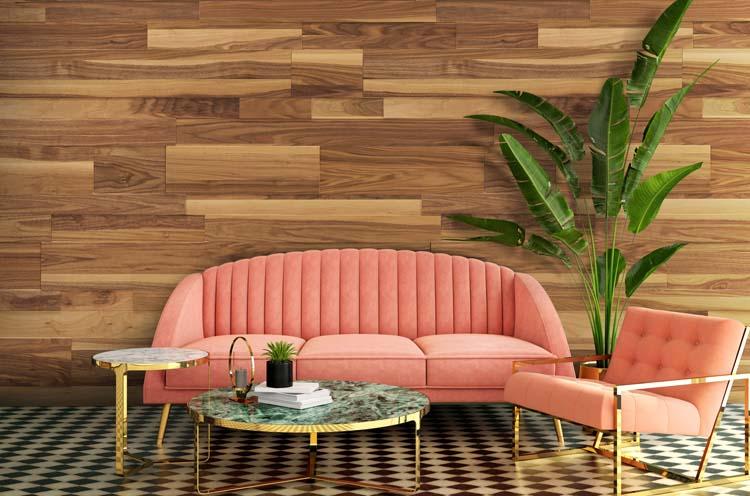 lambris de bois finition interieure pour salon ou reception avec fond de mur classique