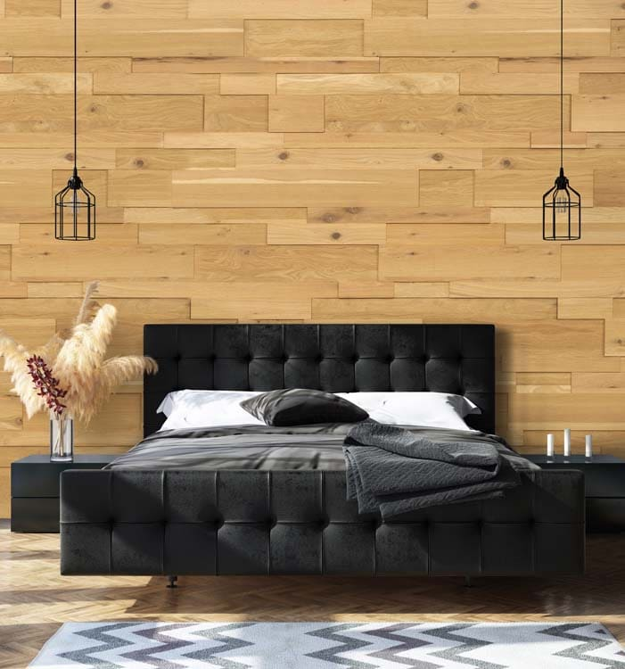 sol et mur en bois pour interieur de chambre a coucher avec un lit king size