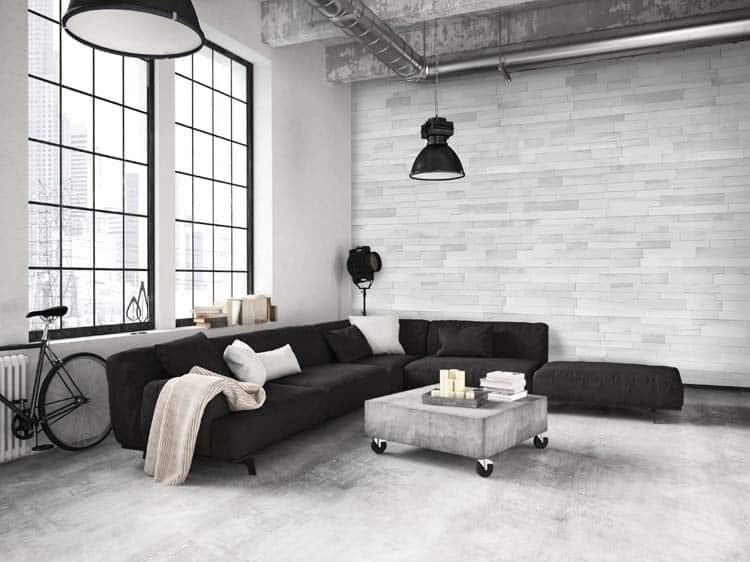 idee de brique horizontale murale pour salon penthouse