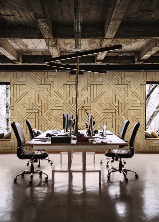 revetement de bois pour interieur de salle de conference pour bureau moderne