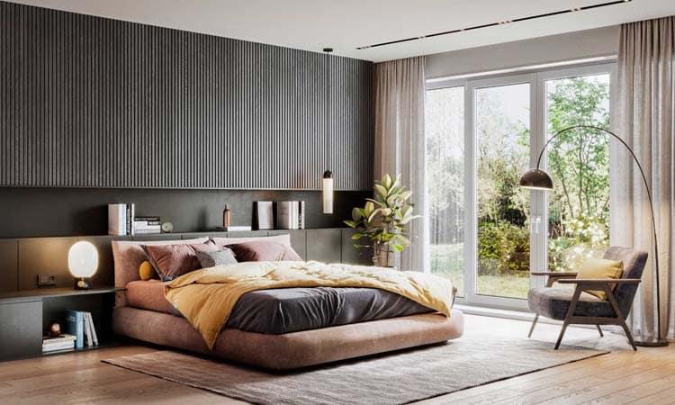 latte verticale de bois elegant pour chambre a coucher