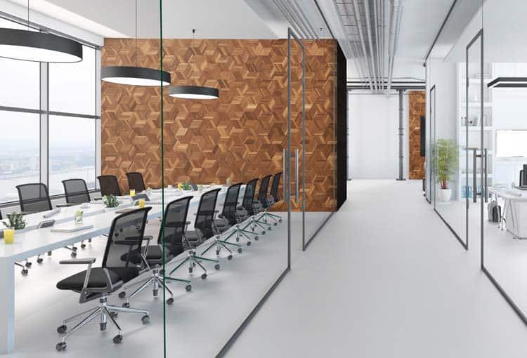 revetement mural en bois interieur de bureau moderne avec sol blanc et materiaux minimalistes